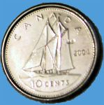 Bluenose on dime