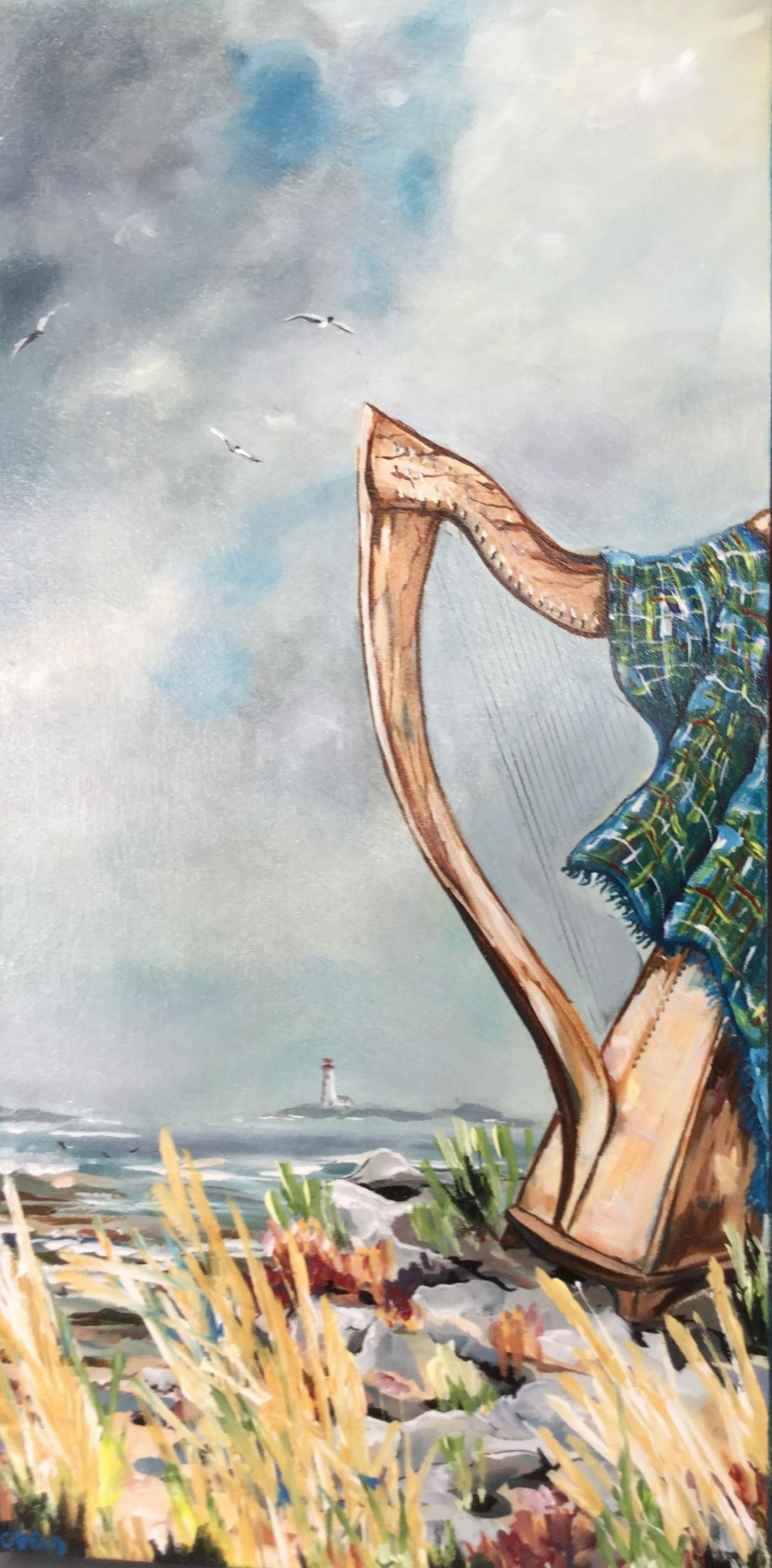 Cris' harp festival painting